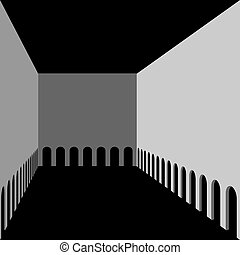 Abstract architectural background. Hall with arches gallery....