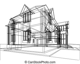 Abstract architectural construction - Abstract sketch of...