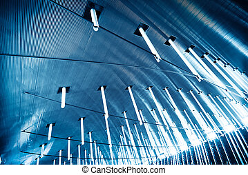 abstract architecture, blue toned image.