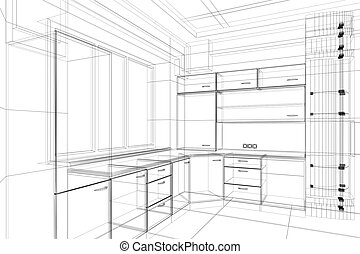 abstract architecture - abstract design sketch of kitchen...