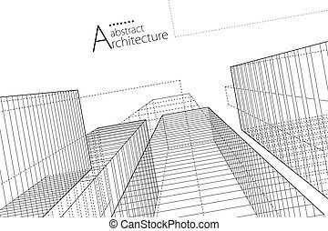 Abstract Architecture Urban Geometry Drawing.