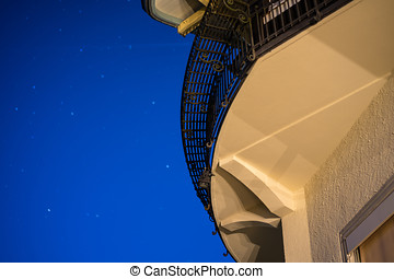 abstract architecture with blue sky at night