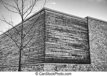 abstract, architectuur, achtergrond, met, hout, en, bakstenen muren