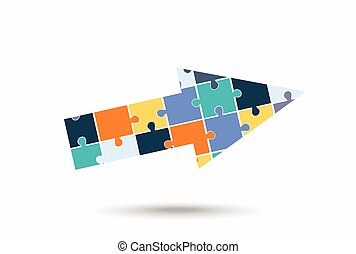 Abstract arrow of puzzle pieces, vector illustration