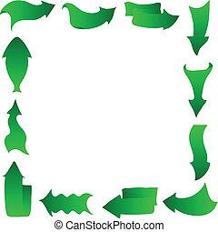 Abstract arrows, frame, green