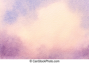 Abstract art background light blue and purple colors. Watercolor painting on canvas with soft white gradient.