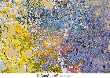 Abstract art background. Oil painting on canvas. Blue and yellow