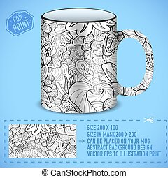 abstract art design for print on a cup. Vector illustration concept