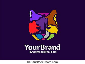 abstract art of colorful cat head vector illustration concept
