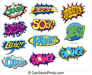 Set of Comic Expression Vector - Abstract Art of Set of...