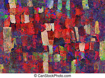 Abstract art painting - Children's drawing of palette with ...