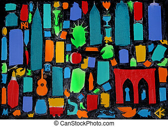 Abstract art painting of New York City