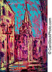 Abstract art painting of the San Juan de Sahagun church in Salamanca Spain