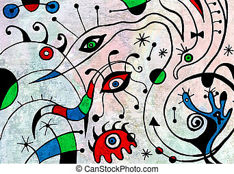 Abstract art painting with fantastic birds. Artwork by a ten...