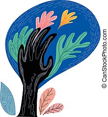 Abstract art plant and hand