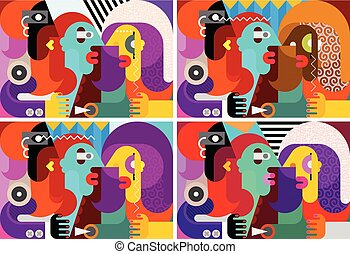 Abstract art portrait of three people