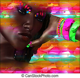 Abstract art, womans face - Abstract digital art image of a...