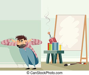Abstract artist in work - Vector illustration of an abstract...