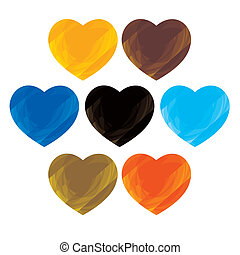 Abstract artistic colorful collection of heart signs(icons)- vector graphic. This illustration consists of symbols of love in colors like orange, red, green, blue, black, brown, etc
