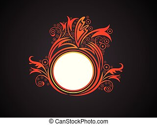 abstract artistic creative orange floral circle