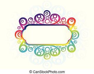 abstract artistic creative rainbow floral border