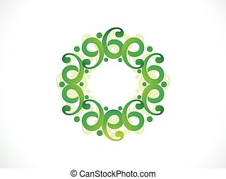 abstract artistic floral green border.eps