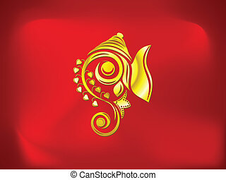 abstract artistic golden ganesha
