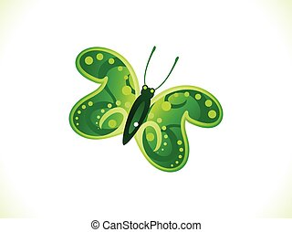abstract artistic green butterfly