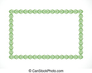 abstract artistic green floral border