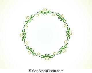 abstract artistic green floral circle border