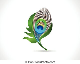 abstract artistic green peacock feather.eps