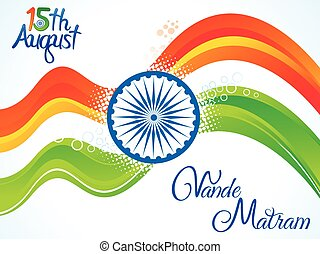 abstract artistic indian independence day wave background
