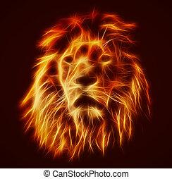 Abstract, artistic lion portrait. Fire flames fur, black background