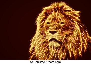Abstract, artistic lion portrait. Fire flames fur, black...
