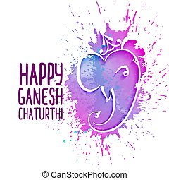 abstract artistic lord ganesha design festival greeting