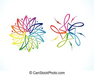 abstract artistic multiple rainbow floral