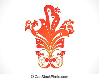 abstract artistic orange floral .eps