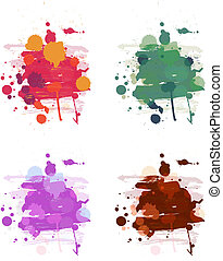 Abstract artistic paint vector background set