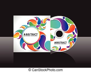abstract artistic rainbow floral cd cover .eps