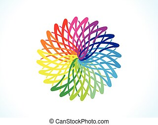 abstract artistic rainbow floral circle