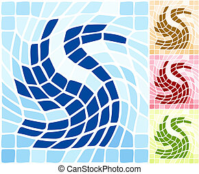 Abstract artistic tile stylized swan shape background.