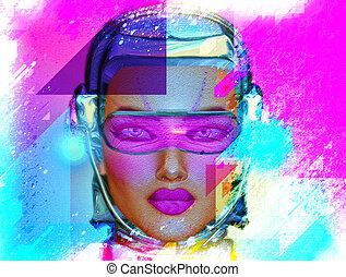 Abstract Art,Robot Girl