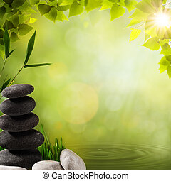 Abstract asian backgrounds with stone and bamboo leaves