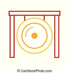 Abstract Asian Gong Music Instrument Vector Illustration Graphic