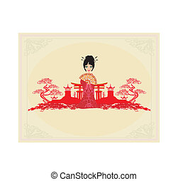 abstract Asian Landscape and beautiful geisha