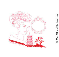 abstract Asian Landscape and beautiful geisha - doodle