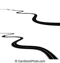 Abstract asphalt road isolated on white background.