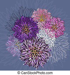 Abstract aster flower pattern-model for design of gift...