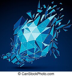 Abstract asymmetric blue vector low poly wrecked object with different triangular particles. 3d origami futuristic form with 3d mesh and white connected dotted lines.