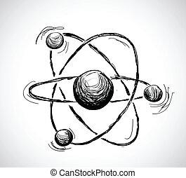 Abstract atom. Hand drawn illustration